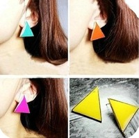 E530 trigonometric stud earring fashion accessories stunning multicolour millenum triangle geometry color candy stud earring 10g
