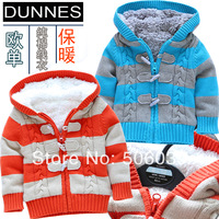 Male baby child top sweater winter sweater baby clothes cool stripe sweater paragraph berber fleece lining