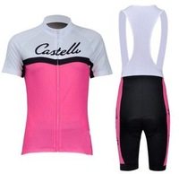 Free shipping 2013 Castelli pink team woman short sleeve cycling jersey and bib shorts set/female bike clothes/Ciclismo jersey