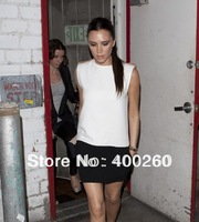 European and American women's victoria beckham Beckhams star models black and white stitching dress