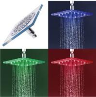 "LED 8"" 200mm Sqre ABS Plastic Chrome Rainfall Spray Shower Head 4 Shower Bath ck050"