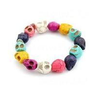 Minimum Order $20 (mixed order)   Fashion vintage multicolour skull bracelet fashion female accessories