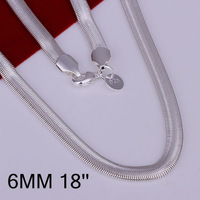 N193-18 Promotion! free shipping wholesale 925 silver necklace, 925 silver fashion jewelry 6mm Snake Bone Necklace-18 N1
