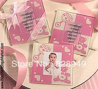 Wedding favor--Baby shower Pink Photo Plass Coaster    (2pcs/set)