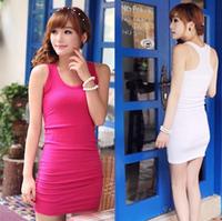 Summer women's fashion all-match racerback sexy spaghetti strap vest basic slim hip slim one-piece dress