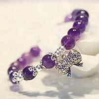925 pure silver rhinestone natural pink crystal bow amethyst aquamarine strawberry crystal bracelet