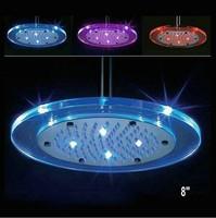 "LED 8"" 200mm Round ABS Plastic Chrome Rainfall Spray Shower Head 4 Shower Bath ck048"