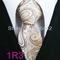 YIBEI Coachella ties Men's Slim Tie Beige With Brown Paisley Necktie Jacquard Woven SKinny Tie Narrow fashion Tie Wedding