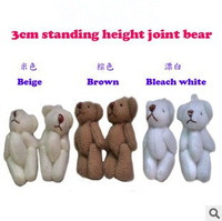 Y93 free shipping 3CM=1.18inch small size cheap mini bear jointed plush stuffed doll bouquet toy wholesale 100pcs/lot