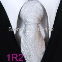 YIBEI Coachella ties Men's Slim Tie Silver Solid Color Paisley Necktie Jacquard Woven SKinny Tie Narrow fashion Tie Wedding