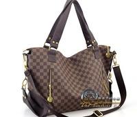 fashion women's brown plaid shoulder bag handbag tote bags messenger bags free shipping