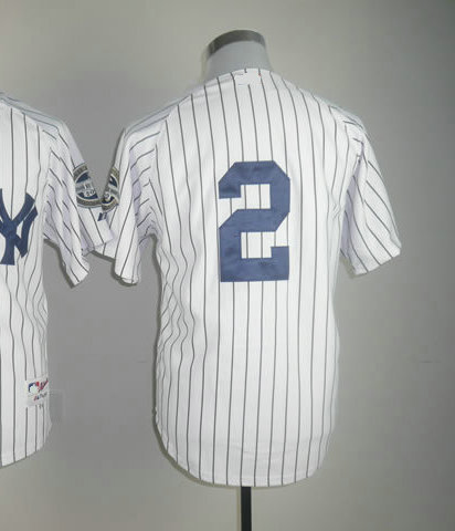 Wholesale Men's Baseball Jerseys #2 Derek Jeter White Authentic Jerseys Size 48-56 All Stitched(Sewn on) Mixed Order(China (Mainland))