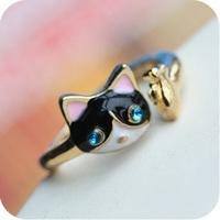 Promotion! Wholesale!  Fashion lady women jewelry cute mini cat personalized alloy ring SR216