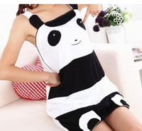 Students strap nightgown cute black and white panda cartoon tracksuit thin section