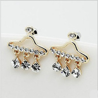 Min.order is $15 (mix order)2013 Luxury artificial crystal stud earrings for women,Fashion gold plated hanger stud earring E428