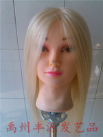 "Free Shipping 50% Real Hair Hairdressing Cutting Training Mannequin Head With Clamp 22"" gold"