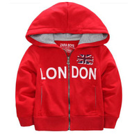 free shipping 2013 spring and autumn child sports knitted 100% cotton slim outerwear with a hood sweatshirt