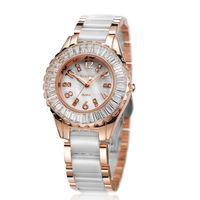 2013 new style Original waterproof ceramic table ultra-thin rhinestone women's watch white ladies watch