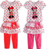 2013 Baby Girl Suit Child 2 Pcs Cloth Set Short Sleeves Minnie Mouse Dot Print Bot T shirt+Bow Layered Minnie Tutu skirt Legging