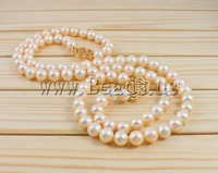 Free shipping!!!Natural Freshwater Pearl Necklace,Luxury, Cultured Freshwater Pearl, brass clasp, Round, natural, pink, 10-11mm