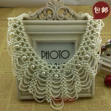 Female fashion false collar pearl rhinestone necklace vintage peter pan collar lace shirt(China (Mainland))