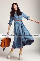 FreeShipping 2013 new fashion spring and autumn denim bohemia    fashion expansion bottom    beach maxi floor length sexy dress