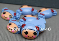 "New style LaLaloopsy Girl Blue hair With Red Bow FlatBack Resins Hair Bow Scrapbooking Embellishment 1"" Free shipping"