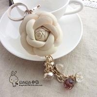 - ol elegant tassel bags flower pendant crystal pearl bags accessories women's keychain