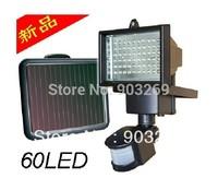 Free shipping!!! 2013 Updated  Single Crystal Solar Panel Solar Sensor Light 60 Bright LED Bulbs And PIR Sensor Included