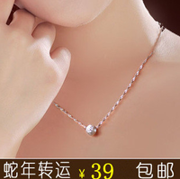Bead transfer pure silver necklace female short design necklace silver jewelry