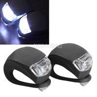 2 Pcs LED Bicycle Light Head Front Rear Wheel Safety Bike Light Lamp Black #gib