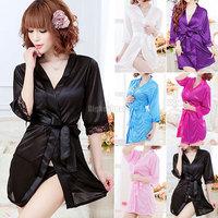 Ladies Sexy Silk Lace Lingerie G-string Dressing Gown Bathrobe Babydoll Kimono free shipping
