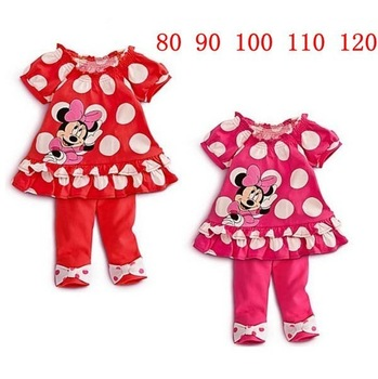 Free shipping Korea girls dot shape Minnie suits summer wear 2 sets with short sleeves