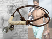 2013  Real Leather Necklace For Men Leather Surf Jewelry