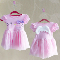 Free shipping KT cat angel wings hello Kitty dress girls dress with short sleeves