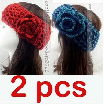 2 PCS Women Headband Lady Knit Hairhand Crochet Headwrap