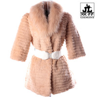 Khaki outerwear medium-long rabbit fur slim women's fur coat