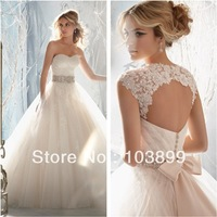 Bewitching Looking Ball Gown Sweetheart Crystals Beaded Waist Organza Backless Bow Bridal Dresses 2013
