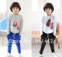 Autumn children clothing sets kid's clothes trousers apparel baby boy and girl guitar panda cotton coat shirt + pants