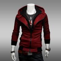 Fashion Man's Korean Style One piece Double Zipper Hoodie Sweatshirts Jackets Men's thin Sports Coat outdoor overcoat