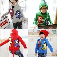 Free shipping children's private long sleeve hooded fleece children dinosaurs