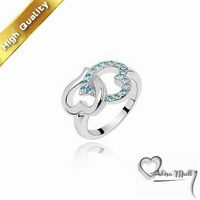 Free Shipping Heart to Heart Gold Plated Ring K Golden Plating Platinum Rhinestone Austrian Crystal SWA Element
