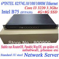 I3-3220 3.3Ghz 6*INTEL 82574L 1U network server B75 MB wayos ros soft route ITX-WB75SL WayOS m0n0wall pfsense etc routing system