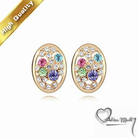 Free Shipping+5 Colors Multi-Colored Fairy Tales Crystal Earrings With SWA Elements Austrian Crystal Fit For The Evening Dress