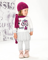 free shipping 5sets/lot girl fashion the autumn girl dress pant 2 piece clothing sets baby suit children wear 20130702