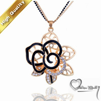 Gold Plated Black and White Hollow Flower Women Necklaces Fashion Jewellry With SWA Elements
