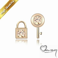 Free Shipping+4 Colors Keylock Crystal Earrings With SWA Elements Austrian Crystal Fit For The Evening Dress