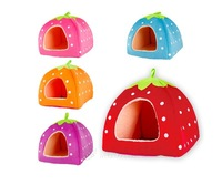 New Free Shipping High Quality  Strawberry Sponge Pet House Bed Cat Dog Kennel Warm Cushion Basket