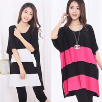 2013 homies europe summer batwing long shirts loose big size short-sleeve Striped T-shirt fat women's clothes lantern Tops
