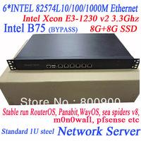 Intel Xeon E3-1230 v2 3.3Ghz 6*INTEL 82574L 1U network server B75 MB wayos ros soft route ITX-WB75SL WayOS m0n0wall pfsense